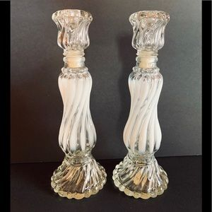 Vintage Avon glass and white painted candlesticks